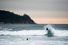 """Zarautz, Spain. Shooting for the research tour of the surf documentary """"The Old, the Young and the Sea"""", www.oldyoungsea.com"""