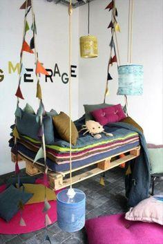 Coole Möbel aus Europaletten DIY bastelideen schaukel kinder