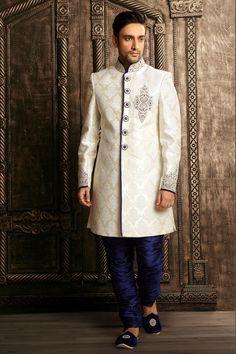 #White brocade zari worked straight cut #sherwani -SH142
