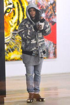 Rihanna New York City March 5 2015 | Rihanna wearing Raf Simons Fall 2001, Balenciaga Unit Leather Biker Ankle Boots and Raf Simons Spring 2004 Hoodie