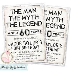 The Man Myth Legend Invitation Mens Birthday Invitations 60th Invites