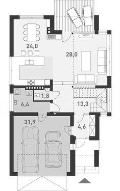 Projekt domu Z Charakterem 3 138,1 m2 - koszt budowy - EXTRADOM 30x40 House Plans, New Homes, Floor Plans, House Design, Flooring, How To Plan, Interior, Projects, Home Decor