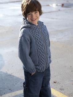 Hooded Cardigan   Yarn   Free Knitting Patterns   Crochet Patterns   Yarnspirations