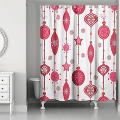 Even your bathroom can be holiday ready with this festive Ornaments Shower curtain. This jolly curtain features Christmas themed art and patterns printed over softened polyester. It's standard sized so it will fit most showers. Colorful Shower Curtain, Striped Shower Curtains, Colorful Curtains, Shower Curtain Sets, Christmas Bathroom, Ornaments Design, Christmas Themes, Accent Pieces, Print Patterns