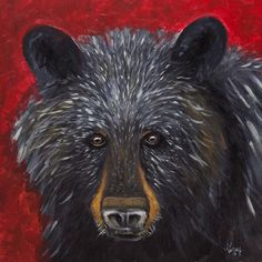 BLACK BEAR Original PAINTING on Stretched Canvas, Nature Wild Animal painting signed and ready to hang by GrayArtus on Etsy https://www.etsy.com/listing/223981995/black-bear-original-painting-on