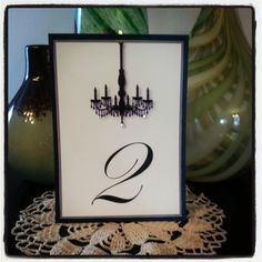 Black & White Classy Chandelier Wedding Table Number