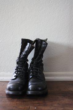STOREWIDE SALE vintage CORCORAN steeltoe combat boots by acupfullofsunshine, $72.00