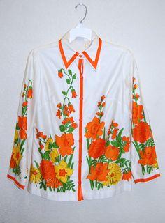 Classic Vintage Vera Neumann Flower Print Cotton by LolaAndBlack, $42.50
