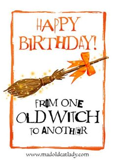 Gorgeous birthday card for an old witch fun but beautifully designed and professionally printed in the UK on callisto heavyweight card. Comes with a white envelope in a clear cellobag. I can ship anywhere - just ask if your country isnt listed Happy Birthday Quotes For Him, Birthday Message For Husband, Birthday Wishes For Him, Best Birthday Quotes, Birthday Card Sayings, Birthday Blessings, Happy Birthday Meme, Birthday Messages, Funny Birthday Cards