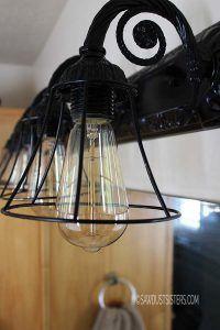 Lamp Shades for Bathroom Fixtures - Lamp Shades for Bathroom Fixtures, Diy Light Fixtures You Can Make for Cheap Bob Vila Light Fixture Makeover, Diy Light Fixtures, Bathroom Light Fixtures, Bathroom Faucets, Paint Bathroom, Bathroom Light Shades, Chandelier Makeover, Condo Bathroom, Foyer Chandelier