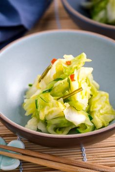 Brined in salt, kombu and chili flakes, this palate-cleansing Japanese Pickled Cabbage makes a perfect accompaniment to a traditional Japanese meal. It's quick and easy to make! #tsukemono #pickledcabbage #japanesefood | Easy Japanese Recipes at JustOneCookbook.com