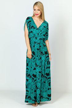 Batwing Style Maxi Dress - Green Print - P.S. Frocks