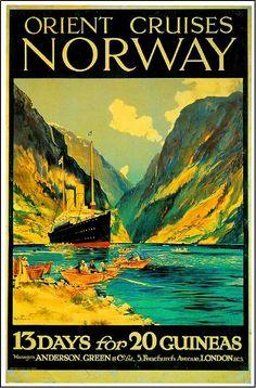 Orient Cruises Norway Ocean Liner Travel  Poster