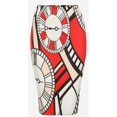 SheIn(sheinside) Multicolor Clock Print Pencil Skirt (1.125 RUB) ❤ liked on Polyvore featuring skirts, multi, stretchy pencil skirt, pencil skirt, multi colored skirt, short pencil skirt and summer skirts