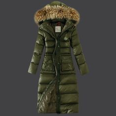 2013 New France Moncler Down Coat Featured Women Slim Windproof Army  Green',another great work from the moncler.Its filler of white goose  weather has made ...