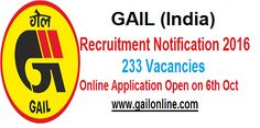 Engineering/Diploma jobs-GAIL Recruitment- 233 vacancies-Last date 05 November 2016  GAIL India Limited invited online applications for recruitment to the post for Junior Engineer, Foreman, Jr. Superintendent, and Other. The candidates eligible for the post can apply through the prescribed format on or before 05 November 2016 (06 PM).  Important dates: