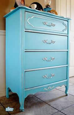 Gorgeous redo! Tiffany blue, sign me up! Now to find a crappy dresser!