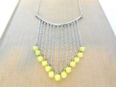 Yellow bead fringe necklace $26