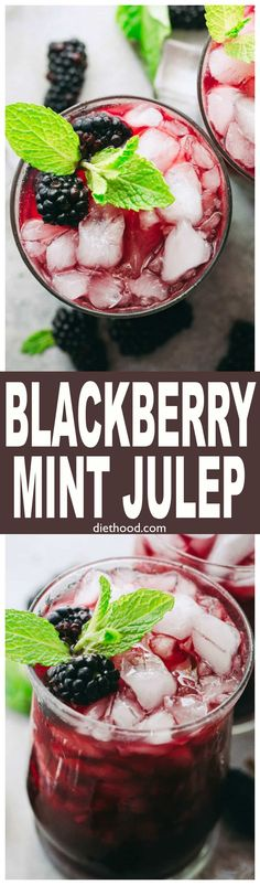 Blackberry Mint Julep - Sweet and fruity summer cocktail prepared with blackberries, mint, and bourbon. via @diethood
