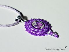 Beaded Purple Butterfly Glass Cabachon Lavendar by Beadwork4Sale