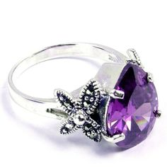 Royal Design Sterling Silver Alexandrite Quartz Ring, Size 7 - Fashion Jewelry