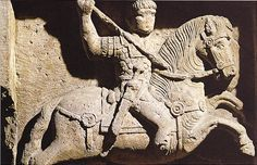 Ancient Roman Calvary depiction including Hasta