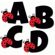 Silhouette Design Store: Ladybug Alphabet - A B C D Ladybug Crafts, Ladybug Decor, Quilling Letters, Alphabet Templates, Bubble Letters, Tangle Art, Writing Styles, Letters And Numbers, Silhouette Design