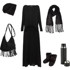 This is me, like 90% of the time, minus the fringed purse and fluffy boots. lol. Because you know I'm all about them maxis, bout them maxis, no color. LMAO. (via shortcuttothestars on Polyvore)