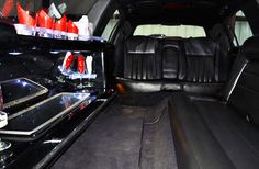 (Interior) Black Stretch Limo, seats 10 people. Serving the Greater Houston area. Reserve your limo now by calling 281-256-7239. #blackhorselimo