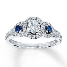 0.79Tcw Round Cut 10k White Gold Diamond & Blue Sapphire Vintage Engagement Ring