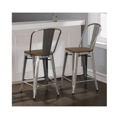 "Industrial Bar Stools Wood Metal Stool Kitchen Counter Height 24"" Set Bistro Pub #CounterHeight #RusticPrimitive"