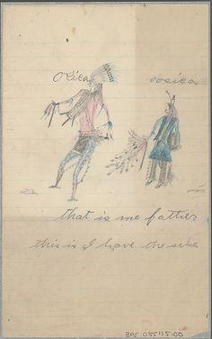 """Рисунок, Oosica, Лакота.  Дата 1893. Коллекция Z.T.Daniel, в то время доктора в резервации Пайн Ридж (позднее в Cheyenne River Reservation, и Blackfoot Reservation). Надпись """"That is me father, this I have the seke"""" и имена Osica и Oosica (Osica (Bad), Oosica (Bad Wound)) . National Anthropological Archives, Smithsonian Institution."""