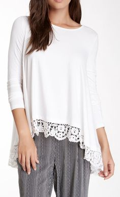 Cecico Lace Trim Long Sleeve