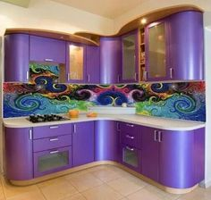 Modern to cool design purple kitchen.