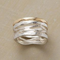 hammered silver wave ring