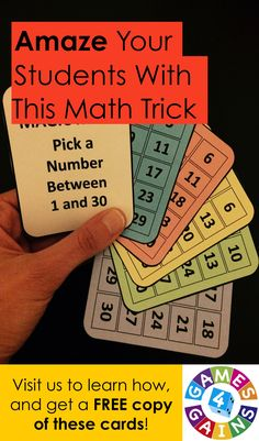 Want to show off a little 'magic' in math class tomorrow? Want to watch your students' jaws drop when they see you guess their secret number correctly again and again? Learn how to do this magic math trick and get these FREE printable Magic Math cards to use at Games4Gains.com.
