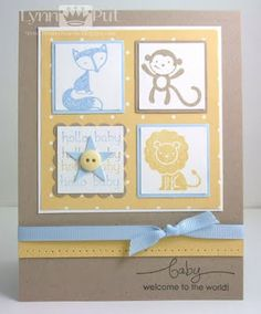 handmade baby card from The Queen's Scene ... four inchie block with cute stamped animals ... almost an applique quilt look ... lovely interpretation of Color Throwdown Challenge #132 ... Stampin' Up!