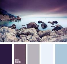 Shades of the eggplant color match the pastel shades of blue very harmoniously. This palette of cold colors is appropriate for bedroom decoration. Bedroom Colour Palette, Pastel Colour Palette, Bedroom Color Schemes, Bedroom Paint Colors, Gray Bedroom, Paint Schemes, Bathroom Colors, Kitchen Colors, Colour Schemes