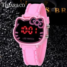 26a36d278 Baby Clock Pink Girl Watches Hello Kitty Cute Cartoon Kid Children Clock  Quality Wrist Christmas Gifts