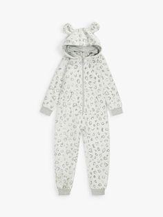 John Lewis & Partners Girls' Foil Leopard Print Onesie, Grey at John Lewis & Partners Audrey Hepburn Children, Girls Pajamas, Our Girl, Pyjamas, 6 Years, John Lewis, Nightwear, Onesies, Dressing