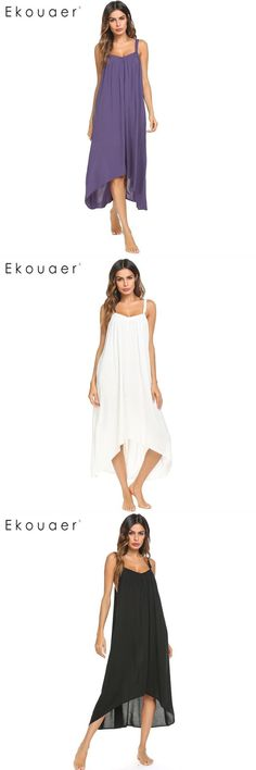 Women spaghetti strap nightgown long chemise nightdress solid irregular hem  loose night dress female long sleepshirts  cotton 06899bb69