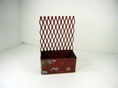 Vintage RUSTIC STORAGE BOX Red w/ Metal by LavenderGardenCottag