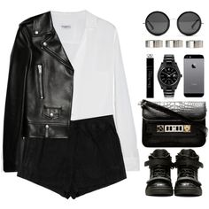Leather jacket by endimanche on Polyvore featuring moda, Equipment, Yves Saint Laurent, Topshop, Giuseppe Zanotti, Proenza Schouler, MAD, ASOS, The Row and Christian Dior