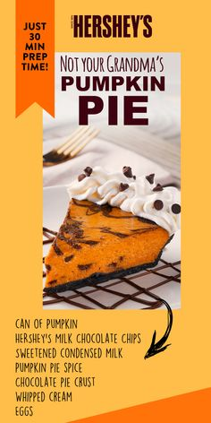 Ground Beef Recipes Discover Not Your Grandmas Pumpkin Pie This is not your Grandmas pumpkin pie recipe unless your grandmother is creative enough to bake pumpkin pie with HERSHEYS Milk Chocolate Chips. Save time by using a pre-made graham cracker crust. Chocolate Pumpkin Pie, Chocolate Pie Crust, Chocolate Pies, Thanksgiving Desserts, Holiday Desserts, Holiday Baking, Christmas Baking, Pumpkin Pie Recipes, Fall Recipes