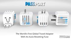 "World's first universal travel adapter with an auto-resetting fuse, 4 USB ports and ""Press and Slide"" controls for one-handed operation"