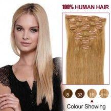 "20"" Golden Blonde(#16) 7pcs Clip In  Human Hair Extensions"