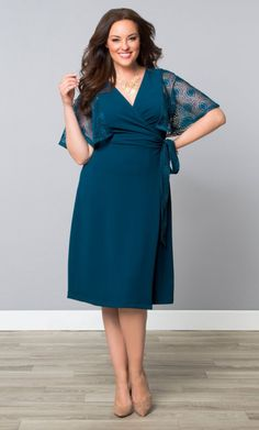 Captivating Crochet Wrap Dress, Playful Peacock (Women's Plus Size) From the Plus Size Fashion Community at www.VintageandCurvy.com