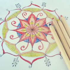 Here is the colored in version from day 1. I decided to go out of my comfort zone a little with primary colors. Just so lovely to draw and color and happily play. Only 99 to go! :-) #100daysofmandalas