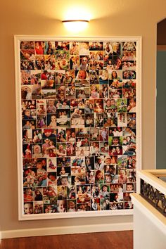 "Bender Photo Collage - 4' x 6' canvas with 12""x 14"" blocks of 4x6""photos. Glue pictures on with Elmers glue leaving a small border between. I nailed the canvas to wall behind random pictures to keep it smooth. We bought ""primed"" molding to frame it and nailed to wall. It still needs a light coat of our trim paint color. Maybe next week! ; )"