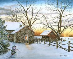 Image result for watercolor painting snow scenes